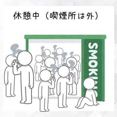 休憩中に喫煙所からあふれる人達